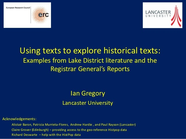 Using texts to explore historical texts:           Examples from Lake District literature and the                   Regist...