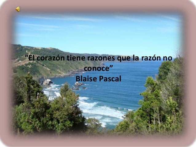 """""""El corazón tiene razones que la razón no conoce"""" Blaise Pascal"""
