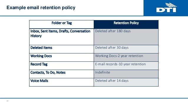 example email retention policy