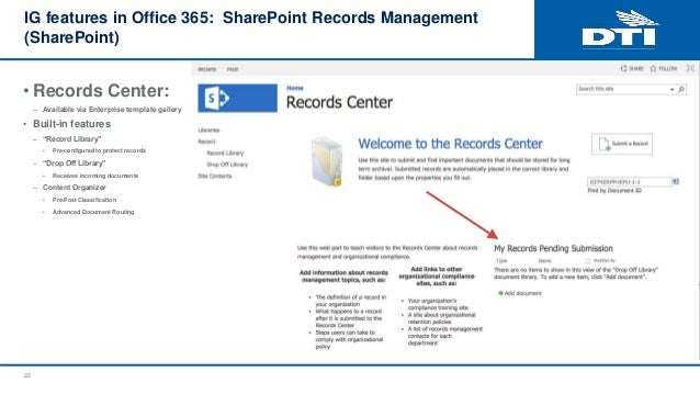 Records management sharepoint 365