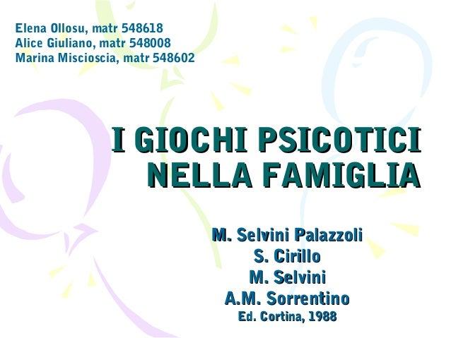 Elena Ollosu, matr 548618 Alice Giuliano, matr 548008 Marina Miscioscia, matr 548602  I GIOCHI PSICOTICI NELLA FAMIGLIA M....