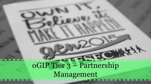 oGIP Tier 3 – Partnership Management