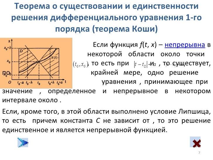 Теорема коши о единственности решения задачи коши подходит для решения многих задач по