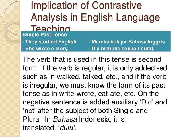 Implication of Contrastive   Analysis in English Language   TeachingSimple Past Tense- They studied English.   - Mereka be...