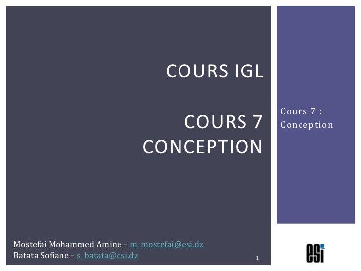 COURS IGL                                                  Cours 7 :                                COURS 7           Conc...