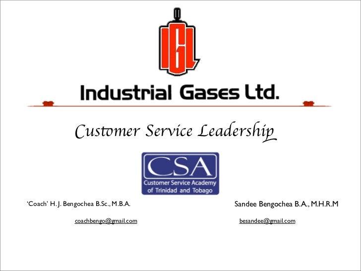 Customer Service Leadership'Coach' H. J. Bengochea B.Sc., M.B.A.   Sandee Bengochea B.A., M.H.R.M                 coachben...