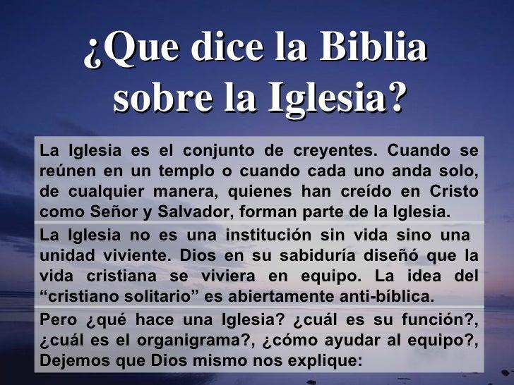 ¿Que dice la Biblia sobre la Iglesia? La Iglesia es el conjunto de creyentes. Cuando se reúnen en un templo o cuando cada ...