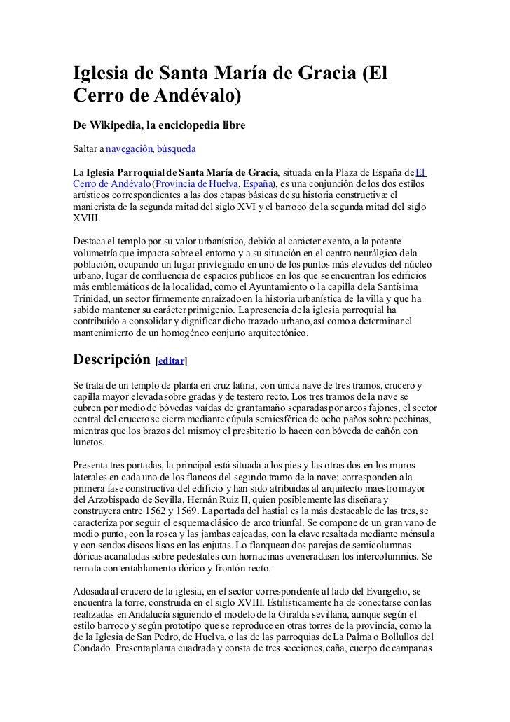 Iglesia de Santa María de Gracia (El Cerro de Andévalo) De Wikipedia, la enciclopedia libre  Saltar a navegación, búsqueda...