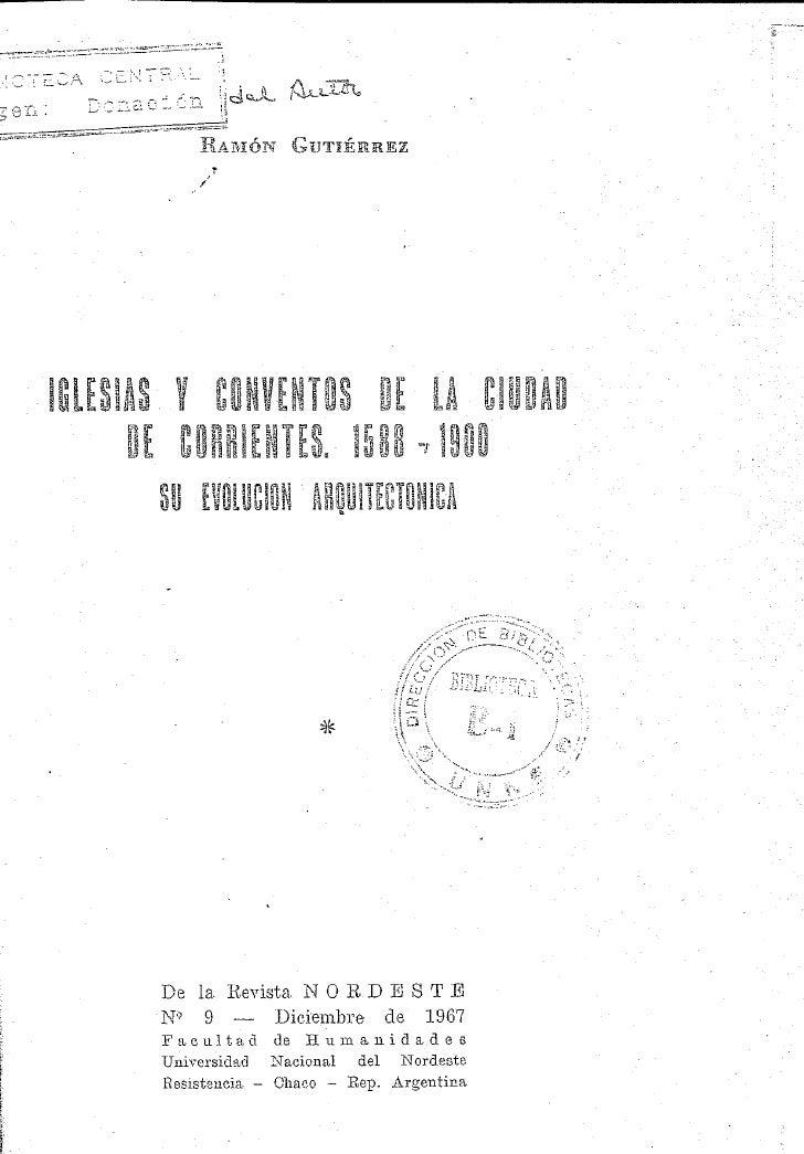 Iglesias Y  Conventos De La  Ciudad De  Corrientes 1588 1900