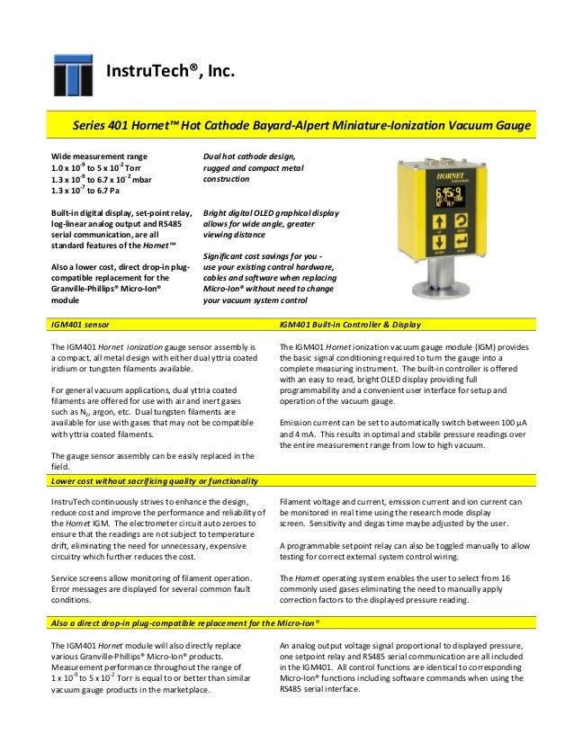Hornet Hot Cathode Bayard-Alpert Miniature-Ionization Vacuum Gauge Da…