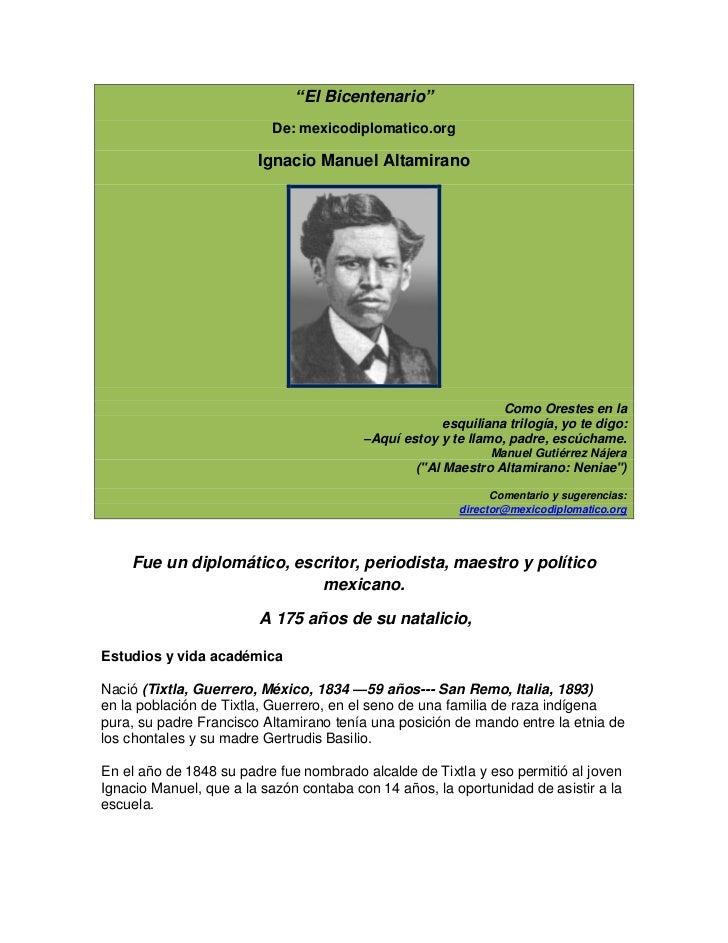 ―El Bicentenario‖                          De: mexicodiplomatico.org                        Ignacio Manuel Altamirano     ...