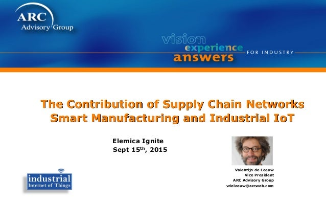 The Contribution of Supply Chain Networks Smart Manufacturing and Industrial IoT Elemica Ignite Sept 15th, 2015 Valentijn ...