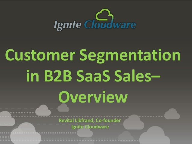 Revital Libfrand, Co-founder Ignite Cloudware Customer Segmentation in B2B SaaS Sales– Overview