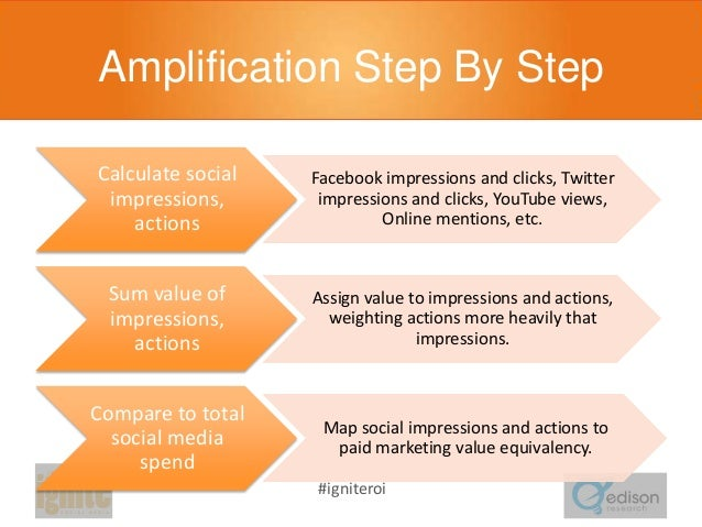 Amplification Step By Step Calculate social impressions, actions  Facebook impressions and clicks, Twitter impressions and...