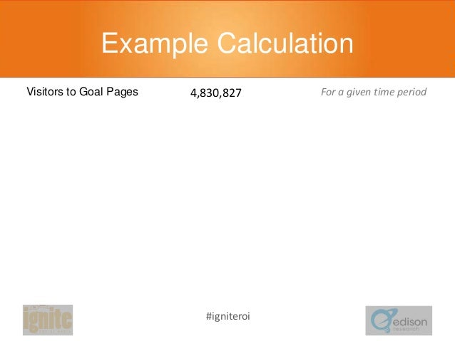 Example Calculation 4,830,827  For a given time period  345,324  For the same time period  Goal Pages per Sale  13.989  Fo...