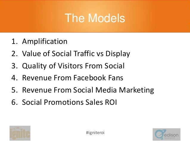 The Models 1. 2. 3. 4. 5. 6.  Amplification Value of Social Traffic vs Display Quality of Visitors From Social Revenue Fro...