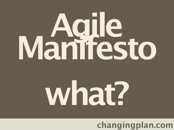 Agile Manifesto  what?      changingplan.com