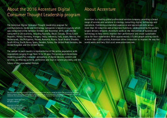 15 About the 2016 Accenture Digital Consumer Thought Leadership program The Accenture Digital Consumer Thought Leadership ...