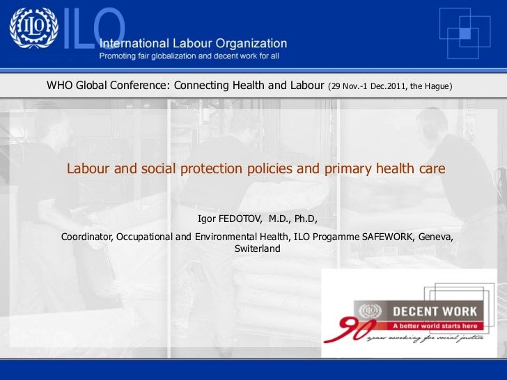 WHO Global Conference: Connecting Health and Labour       (29 Nov.-1 Dec.2011, the Hague)   Labour and social protection p...