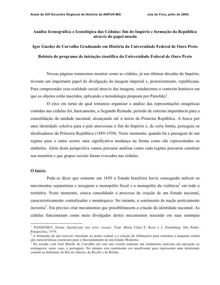 Anais do XIV Encontro Regional de História da ANPUH-MG                        Juiz de Fora, julho de 2004.    Análise Icon...