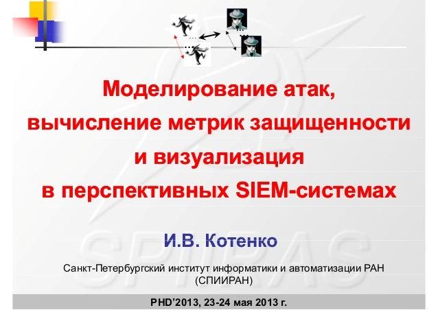 Игорь Котенко. Моделирование атак, вычисление метрик защищенности и визуализация в перспективных SIEM-системах.