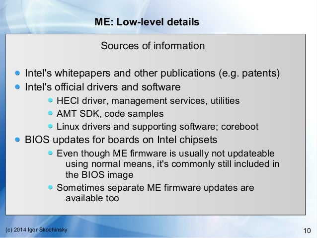 intel management engine drivers firmware