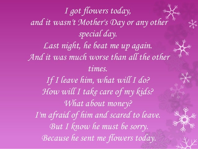 He bought me flowers today poem
