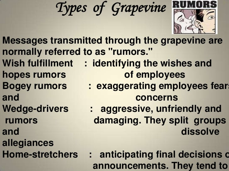 grapevine communications Definition of grapevine communication: the grapevine is a communication system or process which is barely informal communication systemit is comprised of gossip and rumor more and wide information can be transmitted through grapevine communication system.
