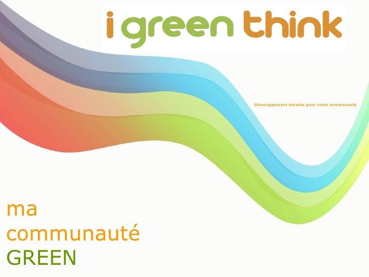 ma communauté GREEN   Développement durable pour votre communauté