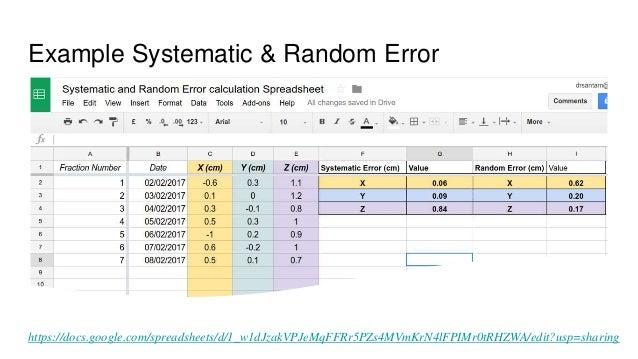 Example Systematic & Random Error https://docs.google.com/spreadsheets/d/1_w1dJzakVPJeMqFFRr5PZs4MVmKrN4lFPIMr0tRHZWA/edit...