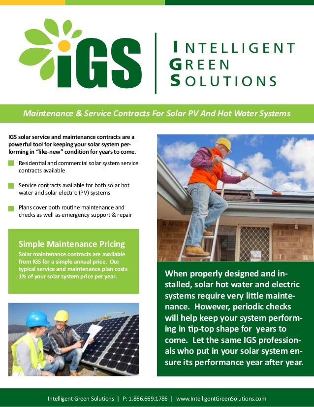 Igs Brochure - Solar Hot Water System Maintenance And Service