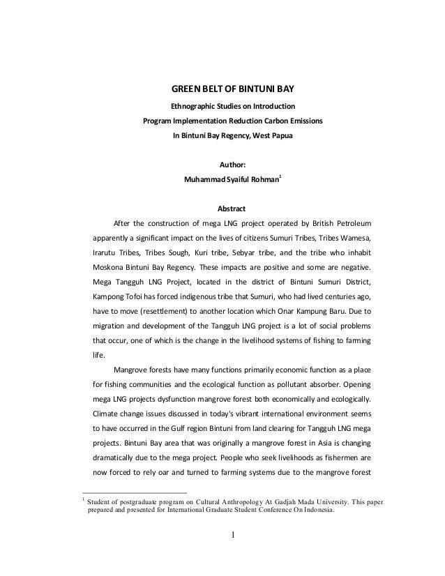 GREEN BELT OF BINTUNI BAY                              Ethnographic Studies on Introduction                     Program Im...