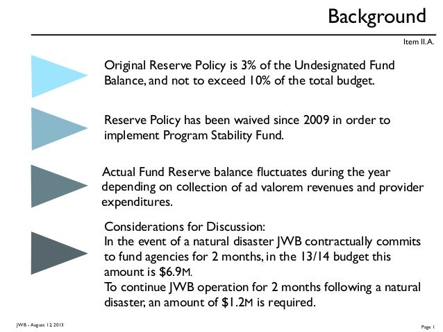 Background Original Reserve Policy is 3% of the Undesignated Fund Balance, and not to exceed 10% of the total budget. Rese...