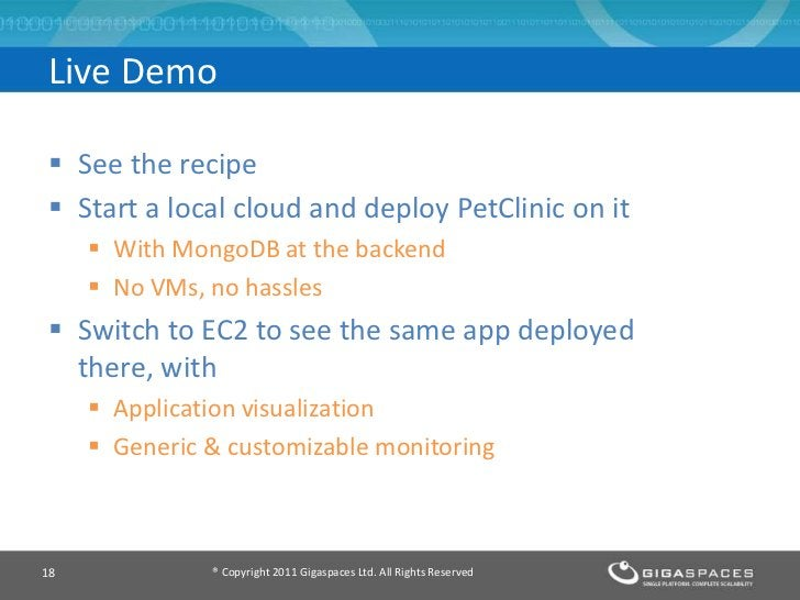 Live Demo See the recipe Start a local cloud and deploy PetClinic on it      With MongoDB at the backend      No VMs, ...