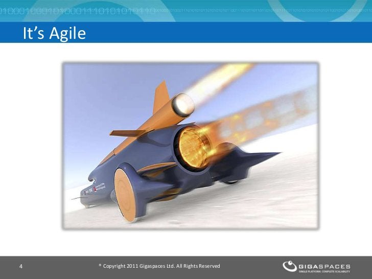 It's Agile             Enter GigaSpaces XAP4            ® Copyright 2011 Gigaspaces Ltd. All Rights Reserved