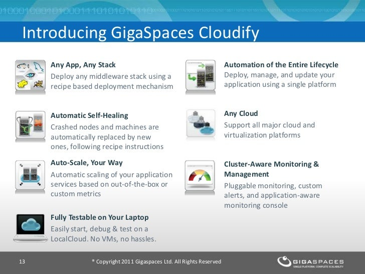 Introducing GigaSpaces Cloudify     Any App, Any Stack                                                 Automation of the E...
