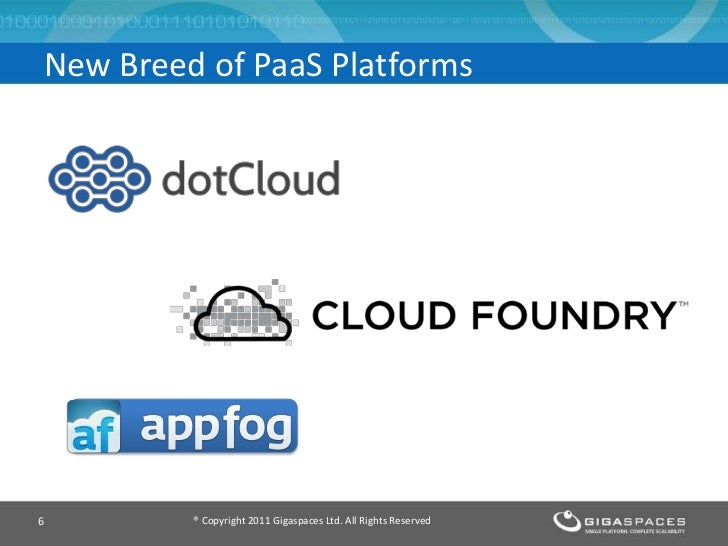 New Breed of PaaS Platforms6        ® Copyright 2011 Gigaspaces Ltd. All Rights Reserved