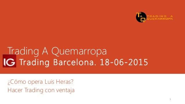 Trading A Quemarropa IG Trading Barcelona. 18-06-2015 ¿Cómo opera Luis Heras? Hacer Trading con ventaja 1
