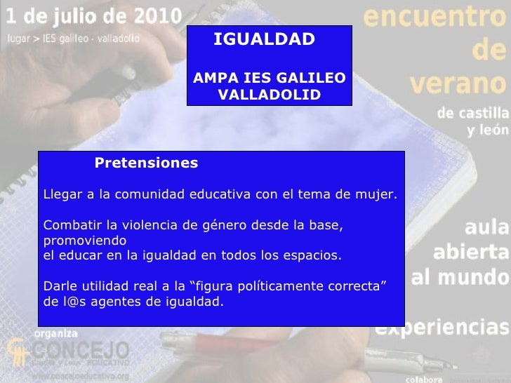 Propuesta de igualdad de género en el IES Galileo 2010 Slide 2