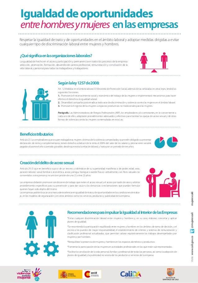 Igualdaddeoportunidades entrehombresymujeres enlasempresas Respetar la igualdad de trato y de oportunidades en el ámbito l...
