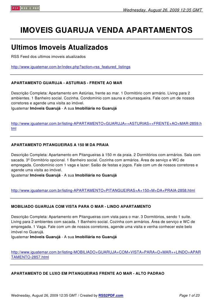Wednesday, August 26, 2009 12:35 GMT          IMOVEIS GUARUJA VENDA APARTAMENTOS  Ultimos Imoveis Atualizados RSS Feed dos...
