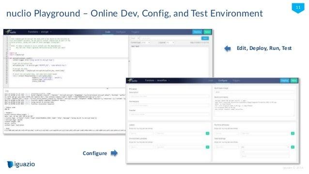 iguazio © 2016 11 nuclio Playground – Online Dev, Config, and Test Environment Edit, Deploy, Run, Test Configure