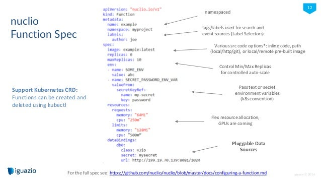 iguazio © 2016 12 nuclio Function Spec Support Kubernetes CRD: Functions can be created and deleted using kubectl tags/lab...