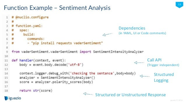iguazio © 2016 13 Function Example – Sentiment Analysis Dependencies (in YAML, UI or Code comments) Call API (Trigger inde...