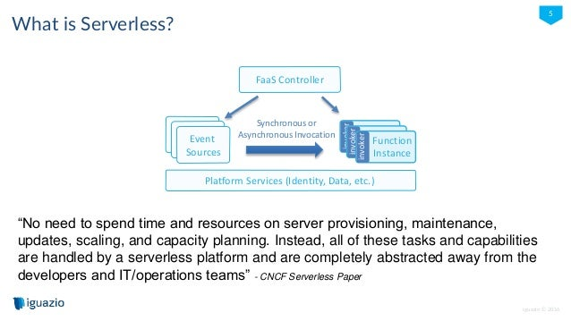"""iguazio © 2016 5 What is Serverless? """"No need to spend time and resources on server provisioning, maintenance, updates, sc..."""