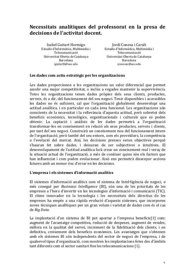 1 Necessitats analítiques del professorat en la presa de decisionsdel'activitatdocent.  IsabelGuitartHor...