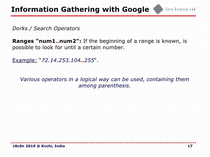 Information Gathering with Google (c0c0n - India)
