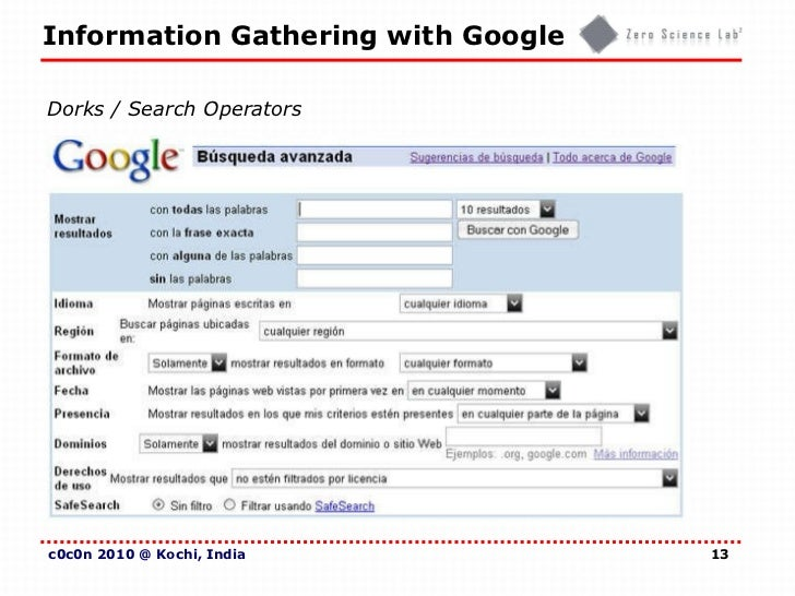 Information Gathering With Google