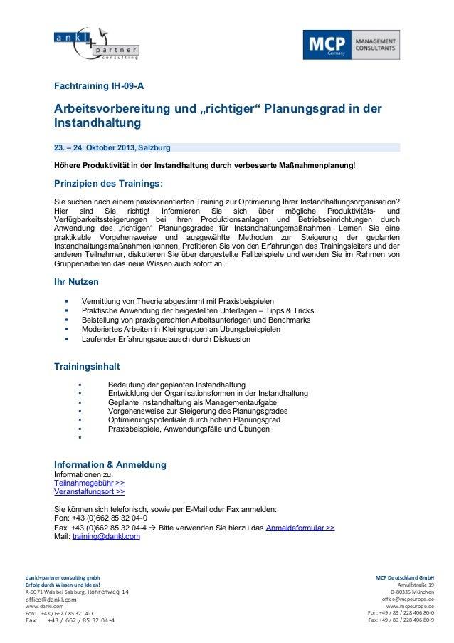 """Fachtraining IH-09-A          Arbeitsvorbereitung und """"richtiger"""" Planungsgrad in der          Instandhaltung          23...."""