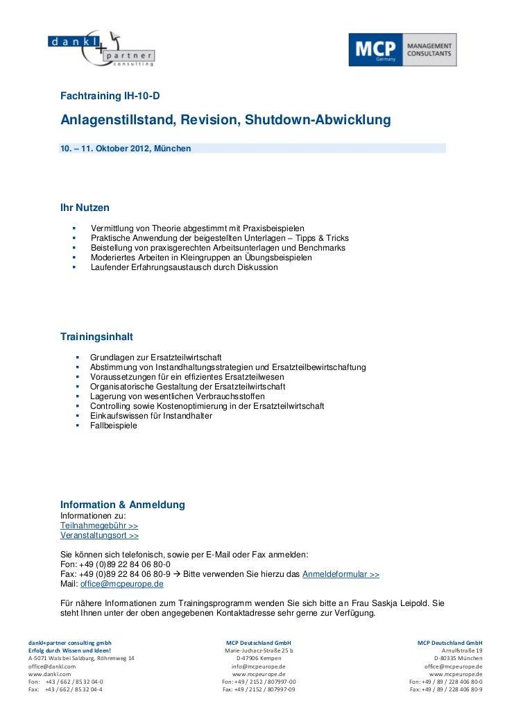Fachtraining IH-10-D           Anlagenstillstand, Revision, Shutdown-Abwicklung           10. – 11. Oktober 2012, München ...